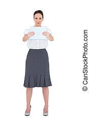 elle, tablette, femme affaires, pc, tenue, sérieux
