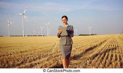 elle, turbines, site, informatique, évaluer, investisseur, investissement, vent