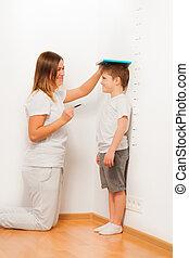 elle, vérification, diagramme, hauteur, croissance, mère, son's
