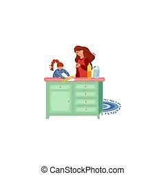 elle, vecteur, enseignement, mère, cuisinier, pâte, illustration, fille