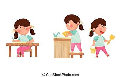 elle, vecteur, plats, extérieur, jouer, devoirs, girl, illustrations, caractère, ensemble, mignon, lavage