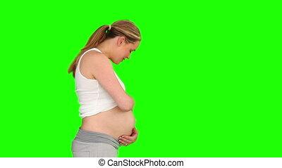 elle, ventre, caresser, femme enceinte