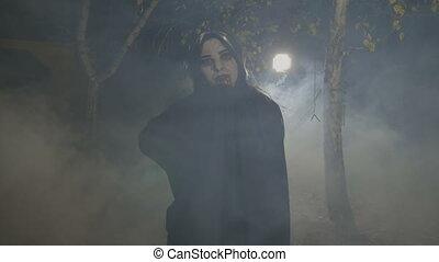 elle, victime, morsure, préparer, vampire, femme, diable, figure, halloween, uncovering