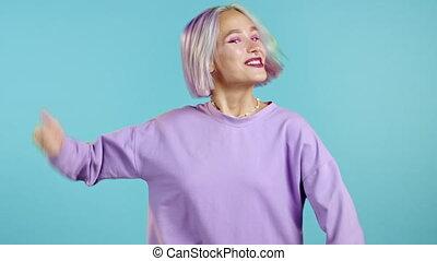 elle, violet, femme, loud., essayer, bleu, teint, obtenir, ...