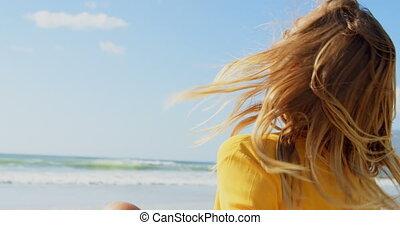 elle, vue côté, tête, caucasien, 4k, femme, secousse, jeune, plage