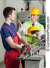 ellenőr, irányít, biztonság, közben, munka, -ban, gyár