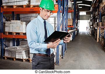 ellenőr, olvasókönyv, -ban, raktárépület