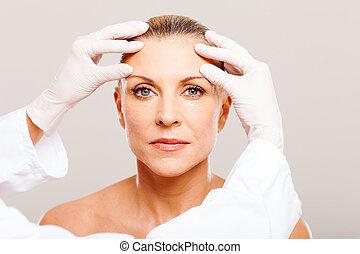 ellenőriz, sebészet, bőr, kozmetikai, előbb