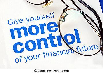 ellenőrzés, anyagi, összpontosít, jövő, fog, -e