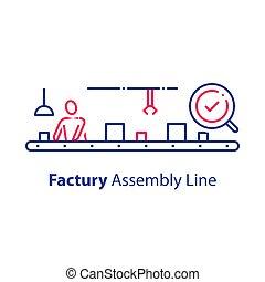 ellenőrzés, gyűlés, kézbesítő, manual munkás, csomagolás, rendszer, átvizsgálás, szériagyártás, gyár, minőség