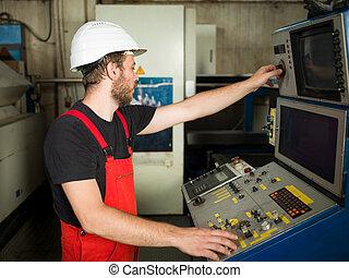 ellenőrzés, ipari munkás, beállítás, működtető, bizottság