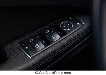 ellenőrzés, kárpitosmunka, ajtó, elektromos, példaképek, windows, modern, vezérmű, gombok, megkorbácsol, autó., fényűzés, ajtók, fekete, zárás, settings, nyílás