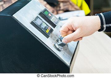 ellenőrzés, közelkép, instruments., fog, forgókészülék, kéz, felszerelés, kapcsol, bábu, bizottság