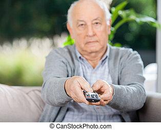 ellenőrzés, távoli, ülés, dívány, időz, használ, senior bábu