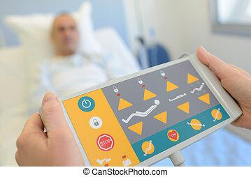 ellenőrzés, távoli, kórház, türelmes, ágy