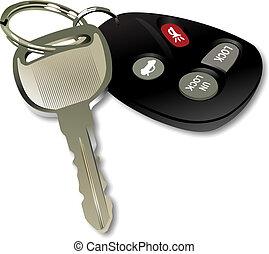 ellenőrzés, távoli, kulcs, autó, felett, elszigetelt, háttér, fehér