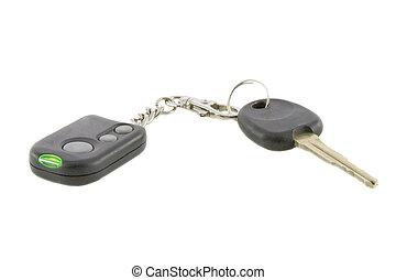 ellenőrzés, távoli, kulcsok, autó aggodalom, rendszer, elszigetelt, háttér, fehér, felett