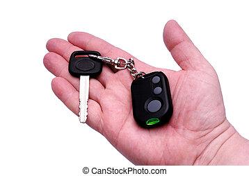 ellenőrzés, távoli, kulcsok, autó aggodalom, rendszer