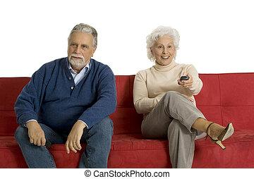 ellenőrzés, televízió távoli, pamlag, párosít, öregedő