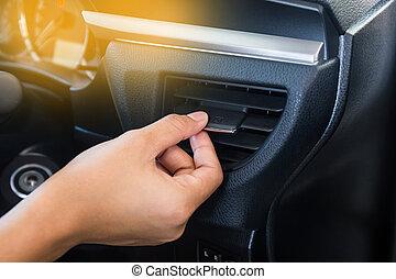 ellenőrzés, vigasztal, autó, rendszer, levegő, rács, nedvességtartalom szabályozás, kéz, bizottság