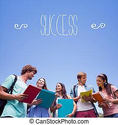 ellen, együtt, álló, diákok, beszélgető, siker