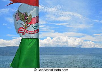 ellen, indonézia, kék ég, lenget lobogó