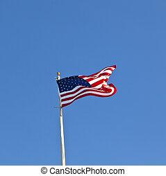 ellen, kék ég, amerikai, lenget lobogó, ragyogó