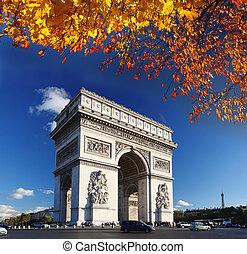 ellen-, körív, párizs, diadalmenet, franciaország