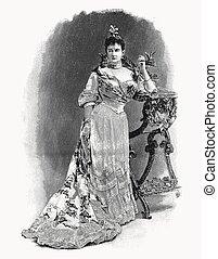 ellen-, vektor, portré, mária, published, debat, duchess, folyóirat, metszés, 1911, france., mecklenburg-schwerin., párizs