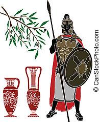 ellenico, guerriero, antico, brocche