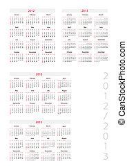 ellenség, naptár, sablon, 2012-2013