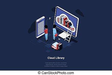 ellenző, osztozás, írás, isometric, zenemű, smartphone, karikatúra, háttér., számítógép, illustration., könyvtár, 3, felhő, sötét, fogalom, kifogásol, előjegyez, vektor, emberek, együtt, felolvasás