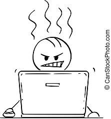 eller, arbejder, laptop, cartoon, computer, forretningsmand, vrede, mand