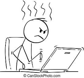 eller, arbejder, laptop, cartoon, computer, typing, forretningsmand, vrede, mand