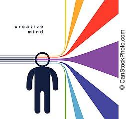 eller, begrepp, author., design, idéer, huvud, man, ...