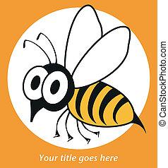 eller, bi, rystet, hveps, vector., morsom