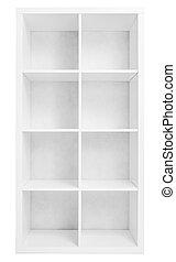 eller, bokskåp, hyllena, tom, isolerat, bibliotek, vit