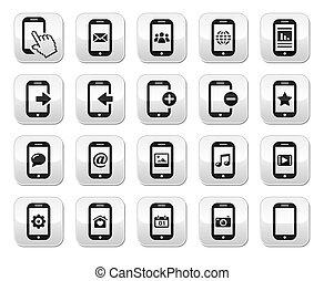 eller, cell, /, mobil, knäppas, smartphone