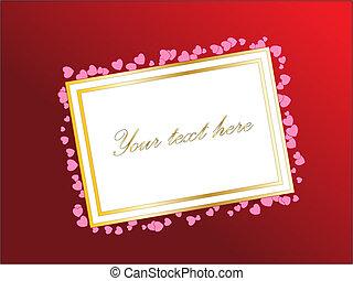 eller, dag, hearts., valentinkort, lutning, text, tom, din, kort, vektor, design, bakgrund., theme., röd