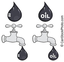 eller, droppe, kran, petroleum, olja