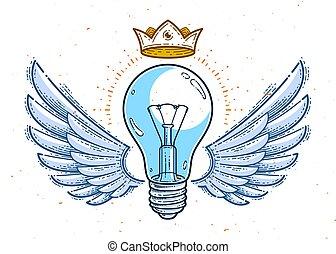 eller, emblem, linjär, bevingat, lätt, idé, skapande, begrepp, vektor, lök, toppmodern, logo, style., ikon
