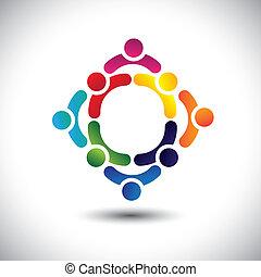 eller, farverig, spille, bygning, også, venskab, vector., circles-, folk, børn, og, dåse, multipel, hold, iconerne, denne, illustration, aktivitet, sammen, gruppe, forestiller, begreb, osv.