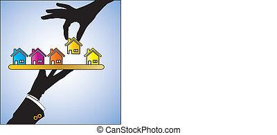 eller, hyra, hem, försäljning, begrepp