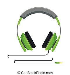 eller, illustration, tillbehör, grön, musik, hörlurar, ...