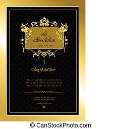 eller, inbjudan, card., guld, bröllop, v