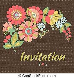 eller, inbjudan, kort, bröllop, blommig, bakgrund.