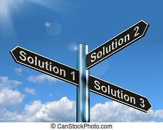 eller, løser, løsning, valg, 1, 3, 2, strategi, bestemmelser, valgmuligheder, show