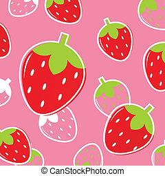 eller, mönster, frukt, färskt smultron, background:, röd, &, rosa