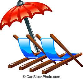 eller, strand stol, däck, parasoll