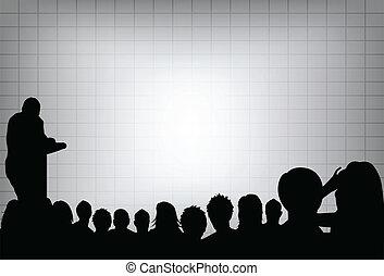 eller, summera, projektering, konferens, affär, text, screen., folkmassa, din, presentation, person, avskrift, audience., produkt, tom, marknadsföra, främre del